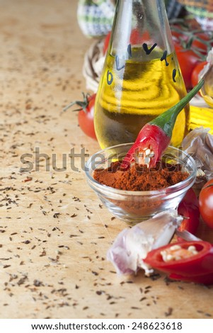 Garlic, chili pepper, paprika, olive oil and tomatoes as cooking ingredients - stock photo