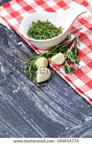 Garlic clove and rosemary
