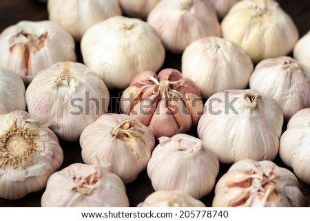 Garlic on black wooden background.