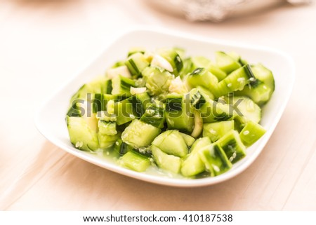 Garlic parsley cucumber and pepper isolated - stock photo