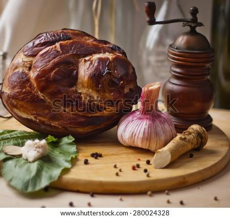 garlic smoked leg ham - stock photo