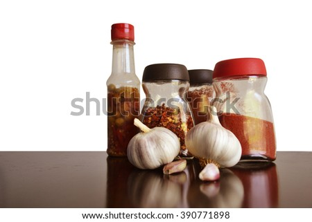 garlic, spices and condiments for food  - stock photo