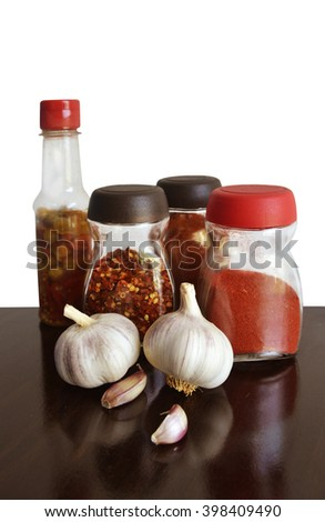garlic, spices and condiments for food vertical  - stock photo