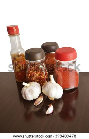 garlic, spices and condiments for food vertical top - stock photo