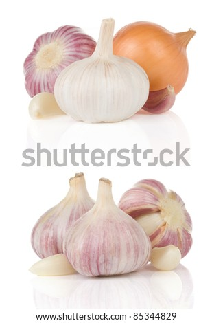garlics and onion isolated on white background