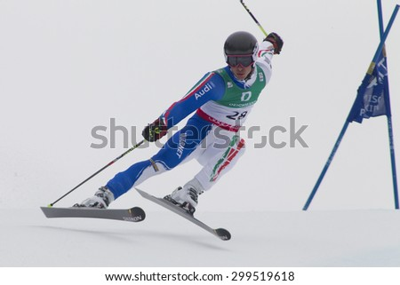 GARMISCH PARTENKIRCHEN, GERMANY. Feb 18 2011: Giovanni Borsotti (ITA) competing in the mens giant slalom race on the Kandahar race piste at the 2011 Alpine skiing World Championships