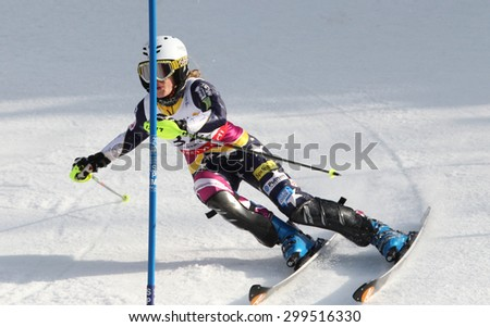GARMISCH PARTENKIRCHEN, GERMANY. Feb 19 2011: Resi Stiegler (USA) competing in the women's slalom race , at the 2011 Alpine skiing World Championships