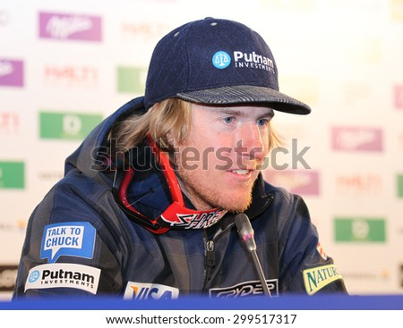 GARMISCH PARTENKIRCHEN, GERMANY. Feb 18 2011:  Ted Ligety (USA) winner of the mens giant slalom race during his winners press conference at the 2011 Alpine skiing World Championships