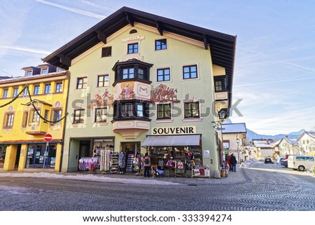 GARMISCH-PARTENKIRCHEN, GERMANY - JANUARY 06, 2015: Charming small Bavarian town with lovingly painted houses on a sunny winter day. Garmisch-Partenkirchen, Bavarian Alps, Germany