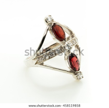 garnet precious jewels or stones on white background - stock photo
