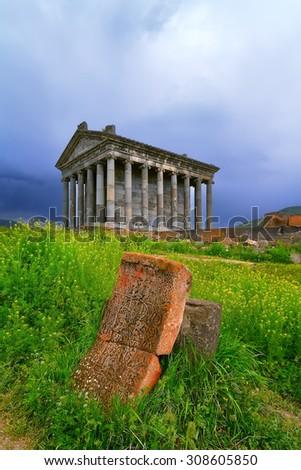 Garni pagan Temple among the green vegetation (Armenia) - stock photo