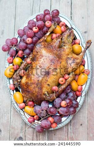 Garnished roasted duck - stock photo