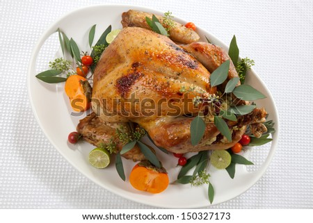 Garnished roasted turkey with tropical fruits over white background for Thanksgiving