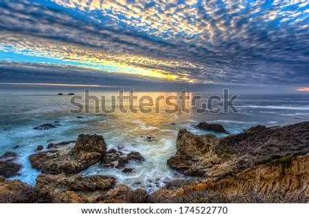 Garrapata State Beach Sunset - stock photo