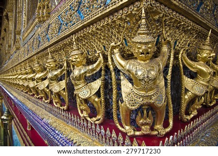 Garud in Wat Phra Kaew, Temple of the Emerald Buddha, Grand Palace, Thailand - stock photo