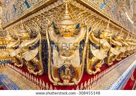 Garuda in Wat Phra Kaew Grand Palace of Thailand to find - stock photo