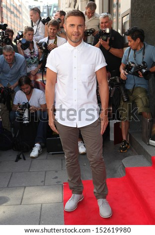 Gary Barlow arriving for the X Factor 2013 Launch, London. 29/08/2013