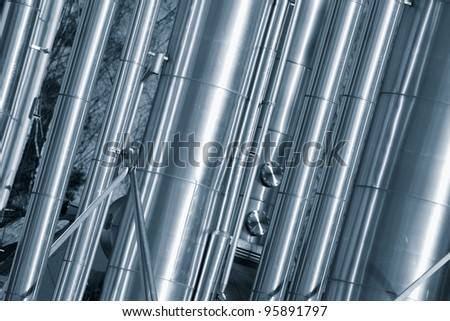 gas and oil pipelines, duplex blue toning concept - stock photo