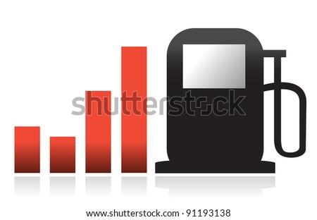 gas bar illustration graph design over white - stock photo