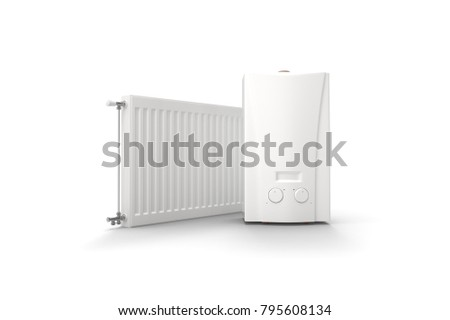 Gas boiler and radiator on white background. 3D rendering.