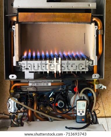 Gas Boiler Inside Device Principle Operation Stock Photo (100% Legal ...