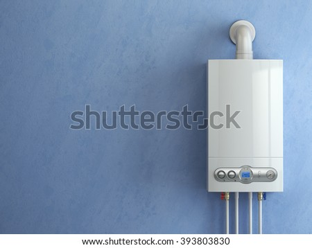 Gas boiler on blue background. Gas boiler home heating. 3d - stock photo