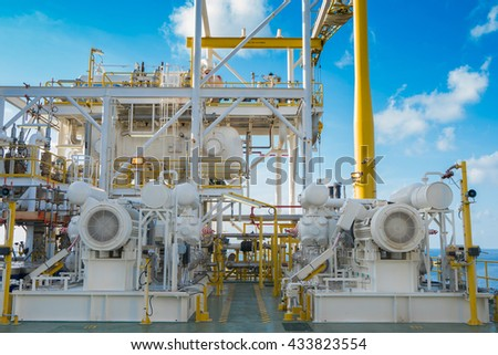 Gas booster compressor in vapor recovery unit and behind is reflux drum these system for recovery heavy hydrocarbon lost in light end gases at oil and gas central processing platform - stock photo