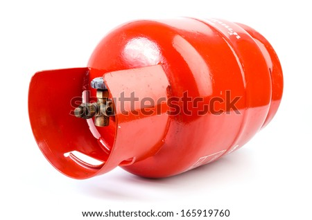 Gas bottle on isolated white background - stock photo