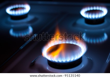 Gas burner in the kitchen oven