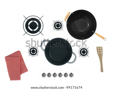 Gas burners isolated against a white background - stock photo