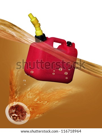 Gas can floating over drain hole. - stock photo