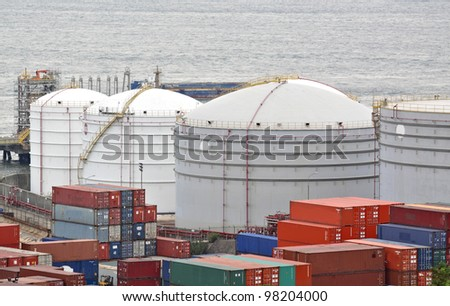gas container and bridge , hong kong - stock photo