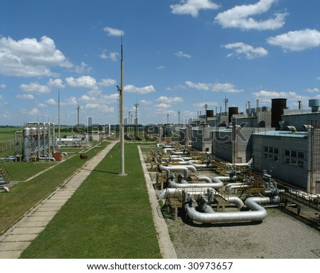 Gas control and conditioning station. - stock photo