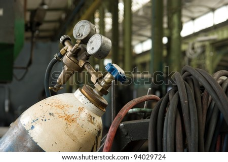 Gas Cylinder and pressure gauge in factory