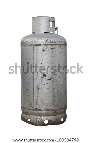 gas cylinder isolated on white - stock photo