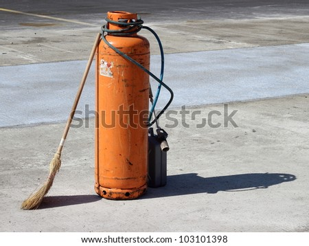 Gas cylinder with burner - stock photo