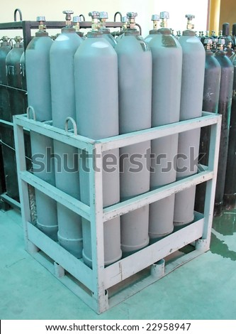 gas cylinders pallet - stock photo