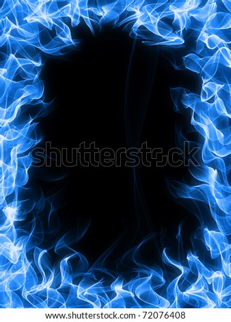 Gas fire and flame frame - stock photo