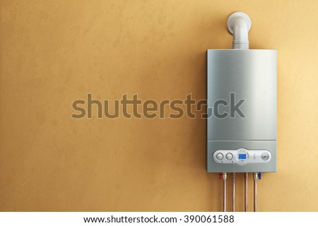 Gas-fired boiler on yellow background. Home heating. 3d - stock photo