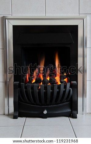 Gas fireplace - stock photo