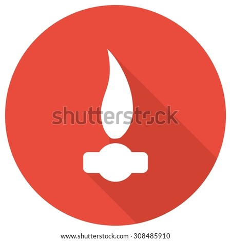 Gas Flame Icon with a long shadow
