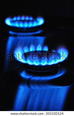 gas flame of cooker - stock photo