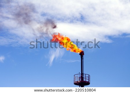 Gas flame torch on a oil refinery plant. Oil industry. Gas refinery plant - stock photo