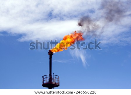 Gas flame torch on a oil refinery plant. Oil indutry. Gas refinery plant - stock photo