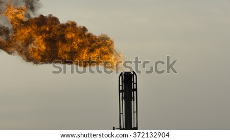 Gas flaring in the oil field  - stock photo