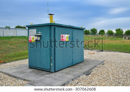 Gas for heating, control and distribution site. - stock photo