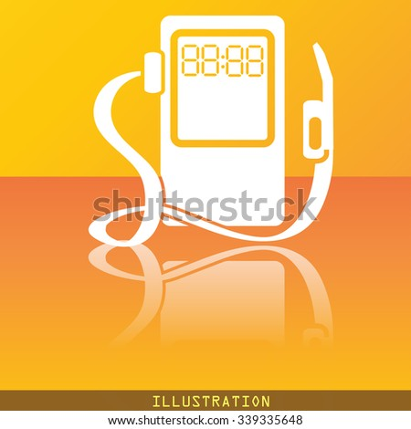 Gas, fuel station icon symbol Flat modern web design with reflection and space for your text. illustration. Raster version - stock photo