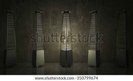 Gas heater for patio.High outdoor gas heater - stock photo