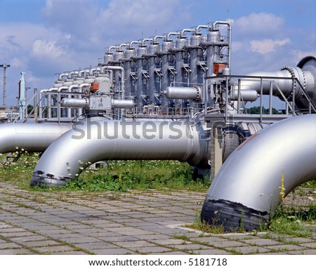 Gas industry, gas injection, storage and extraction from underground storage facilities, natural gas transmission to customers - stock photo