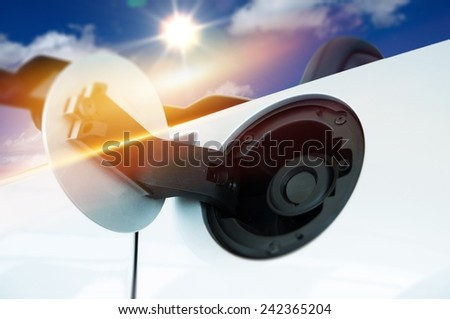 Gas Inlet Car Fueling. Spending Money on the Gas Concept. Car Fuel Inlet Closeup. - stock photo